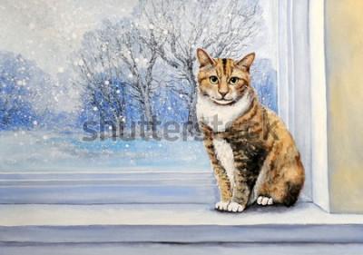 Фотообои Paintings, watercolor.Cat, window, winter, home, animal.