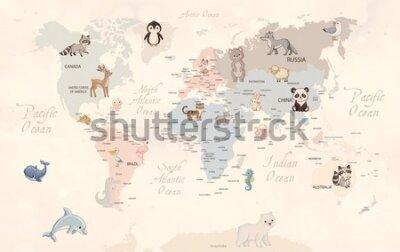 Фотообои Animals world map for kids wallpaper design