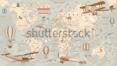 Фотообои childrens retro world map with animals airplanes and balloons