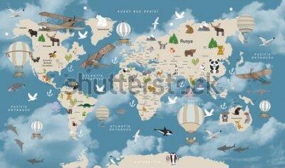 Фотообои Animals world map for kids wallpaper design Turkish articles