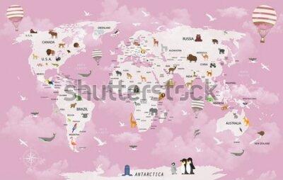 Фотообои World map animals for child room wallpaper