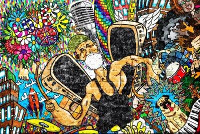 Фотообои Музыкальный коллаж на большой кирпичной стене, граффити