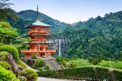 Фотообои Nachi, Japan at the pagoda of Seigantoji and Nachi no Taki waterfall.