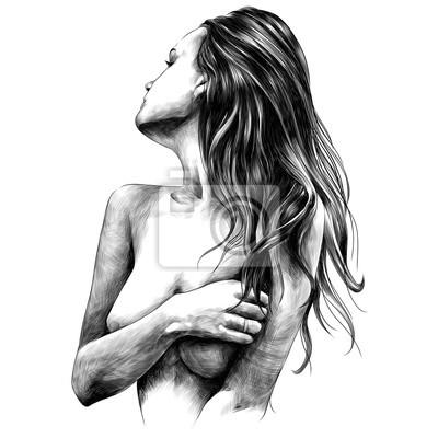 Фотообои голая девушка создает эскиз векторной графики монохромный черно-белый рисунок