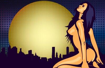 Фотообои Обнаженная женщина у окна с видом на ночной город, дизайн вектор шаблон
