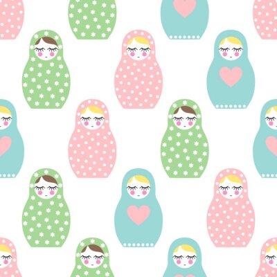 Фотообои Матрешка бесшовные модели. Симпатичные деревянные куклы России - Матрешка. Пастельные цвета Матрешка Матрешка иллюстрации на белом фоне.