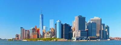 Фотообои Нью-Йорк нижнем Манхэттене финансовый район Уолл-стрит здания Skyline на прекрасный летний день с синим небом