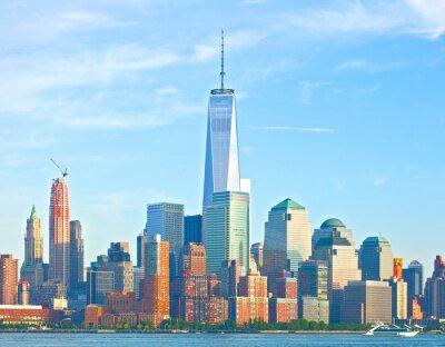 Фотообои Нью-Йорк Нижний Манхэттен финансового района зданий Уолл-стрит горизонта на прекрасный летний день с синим небом