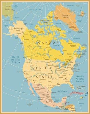 Фотообои Северная Америка Подробная карта Урожай Цвета