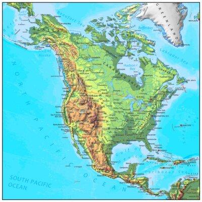 Фотообои Северная Америка физической континент карту