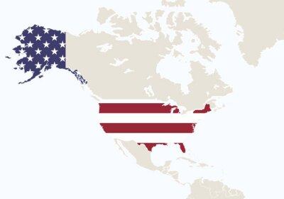 Фотообои Северная Америка с выделенной картой США.