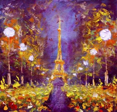 Фотообои Картина маслом - Эйфелева башня в ночное Франции Рыбаков