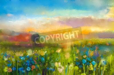 Фотообои Картина маслом цветы одуванчика, василек, ромашка в полях. Закат луг пейзаж с диких цветов, холм и небо в оранжевый и синий цвет фона. Рука краски лета цветочные импрессионизма