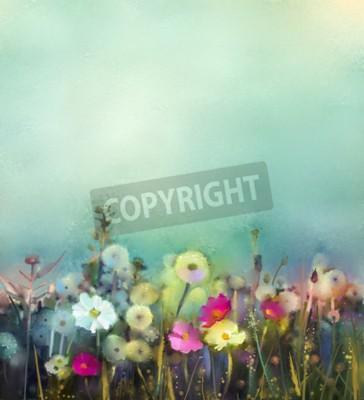 Фотообои Картина маслом цветы одуванчика, мак, ромашка в полях. Рука поле краски Полевые цветы в летний луг. Весна цветочные сезонный характер с синим - зеленый в мягком цветном фоне.
