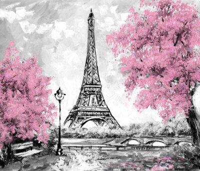 Фотообои Картина маслом, Париж. Европейский городской пейзаж. Франция, обои, Эйфелева башня. Черный, белый и розовый, Современное искусство