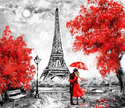 Фотообои Живопись маслом, Париж. Европейский городской пейзаж. Франция, Обои, Эйфелева башня. Черное, белое и красное, Современное искусство. Пара под зонтом на улице