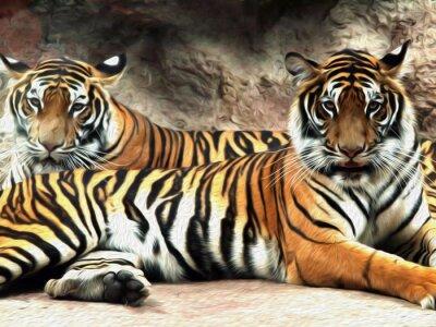 Фотообои Картина маслом Tiger / фото эффект Картина маслом