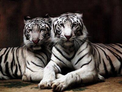 Фотообои Картина маслом Белый тигр / фото эффект Картина маслом