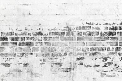 Фотообои Старая кирпичная стена с поврежденной белым слоем краски