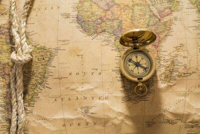 Фотообои старый компас и веревку на урожай карте