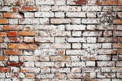 Фотообои Старый большой красный фон кирпичная стена огорчил белой краской
