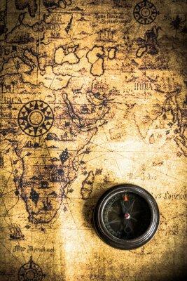 Фотообои старая карта с компасом