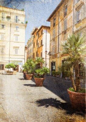 Фотообои Старая улица в Риме. Италия. Картинка в художественном стиле ретро.