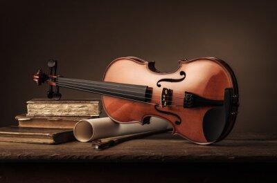 Фотообои Старая скрипка натюрморт с книгами