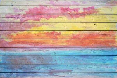 Фотообои Старый деревянный доска в цветах радуги