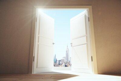 Фотообои Открытые двери из пустой комнаты МЕГАПОЛИС город с небоскребами