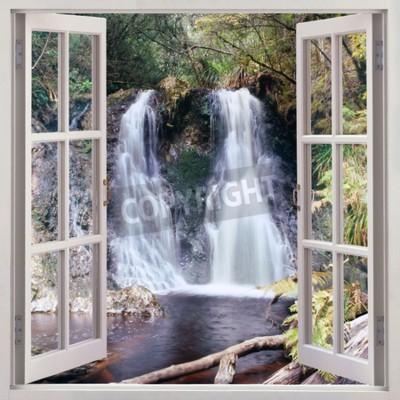 Фотообои Открыть окно просмотра для Хогарт Falls - приятный маленький водопад, расположенный в Народной парка в причудливый прибрежного поселка Страхан, Тасмания, Австралия
