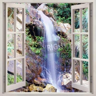 Фотообои Открыть окно в виде небольшого водного каскада