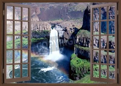 Фотообои Открыть окно с видом на водопад