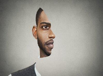 Фотообои Оптическая иллюзия портрет фронт с вырезанным профилем человека