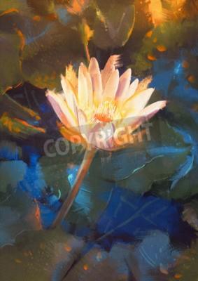 Фотообои painting of beatiful yellow lotus blossom,single waterlily flower blooming on pond