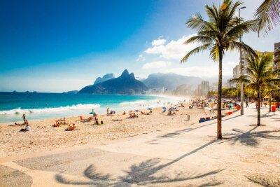 Фотообои Palms and Two Brothers Mountain on Ipanema beach, Rio de Janeiro