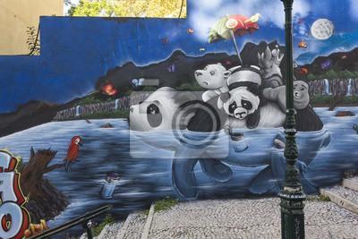 Фотообои Панда Граффити в Лиссабоне, Calçada сделать лавру в общественной улице