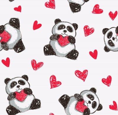 Фотообои панда держит сердце бесшовные фон