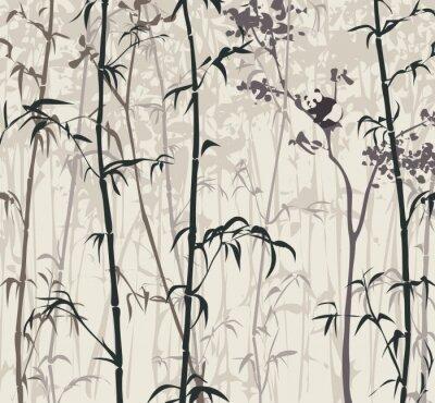 Фотообои Panda в бамбуковом лесу