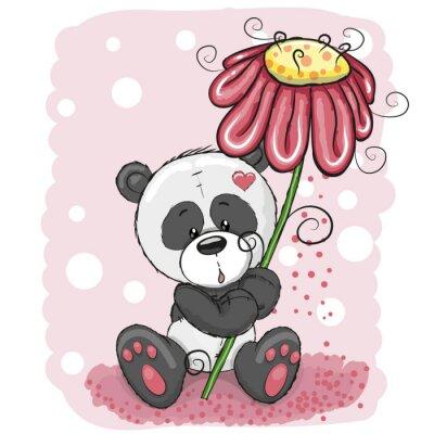 Фотообои Панда с цветком