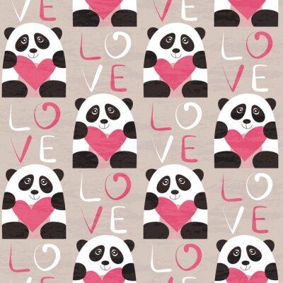 Фотообои Panda с сердцем бесшовные модели