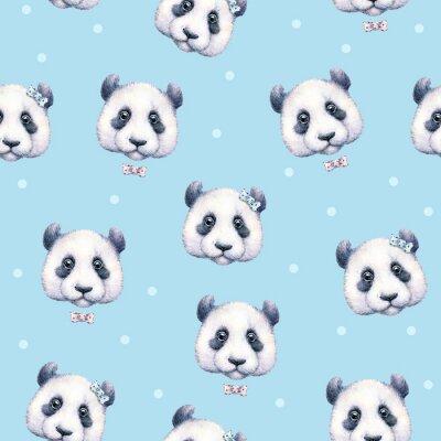 Фотообои Панды на светло-синем фоне. Бесшовные. Акварельный рисунок. Детская иллюстрация. ручная работа