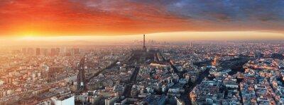 Фотообои Панорама Парижа на закате, городской пейзаж