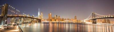 Фотообои Panoramic View Manhattan Bridge, Brooklyn Bridge and Manhattan Skyline at night