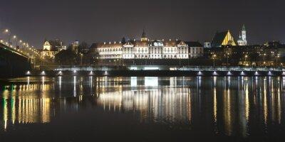Фотообои Panoramic view of Warsaw waterfront by night.
