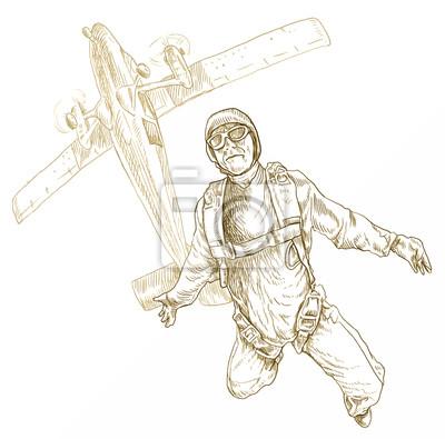 Нарисовать самолет с парашютистами 64