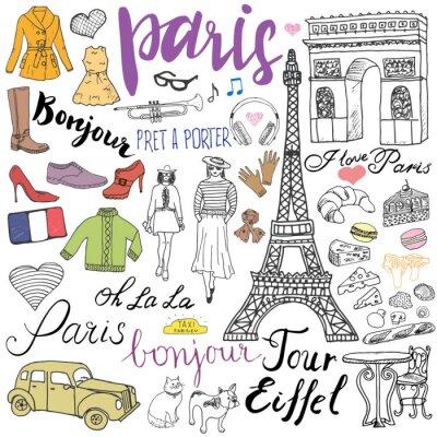 Фотообои Париж Doodles элементы. Рисованной набор с Эйфелеву башню разводили кафе, такси ТРИУМФ арки, элементы моды, кошки и французский бульдог. Составление коллекции каракули и надписи, изолированных на бело