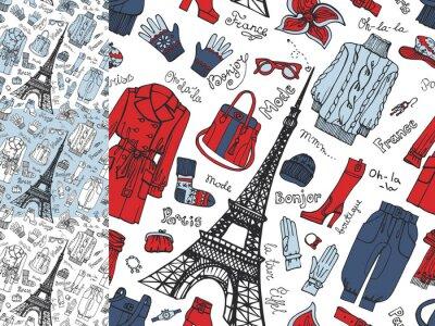 Фотообои Париж Fashion.Clothing бесшовный set.Tricolor каракули