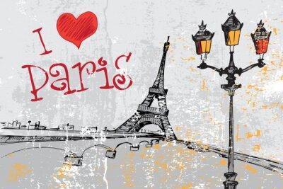 Фотообои Париж гранж-фон с Эйфелевой башней