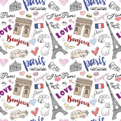 Фотообои Париж бесшовные модели с рисованной элементов эскиза - Эйфелева башня ТРИУМФ арки, предметов моды. Рисунок каракули векторные иллюстрации, изолированных на белом